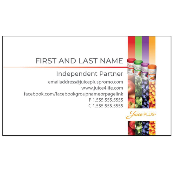 Juice Plus Business Card - Bottle Stripes