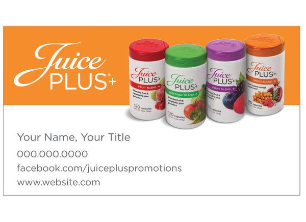 Juice Plus Business Card-Orange Four Blends - Juice Plus+ Promotions