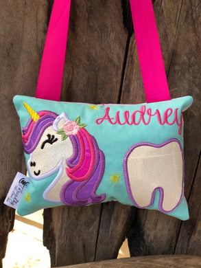 Unicorn Tooth Fairy Pillow - Personalized