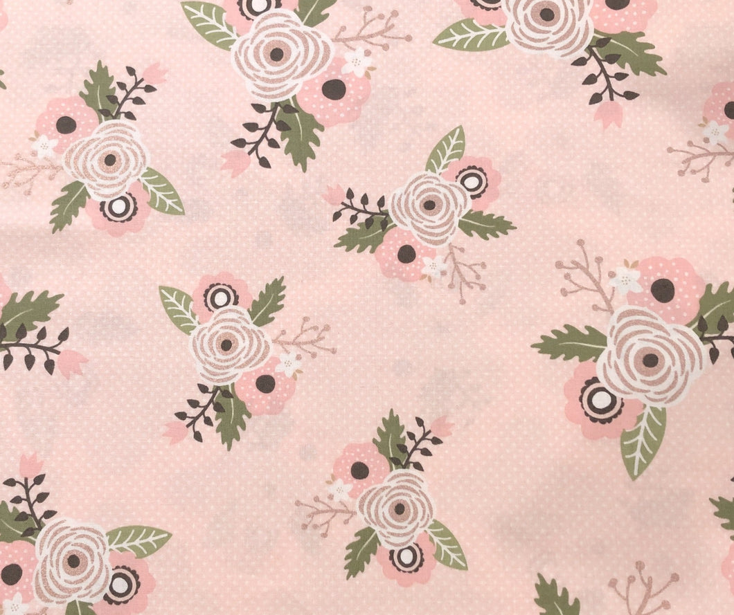 Face Mask - Floral - Riley Blake - Pink BG