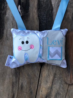 Boy Chevron Tooth Fairy Pillow - Personalized