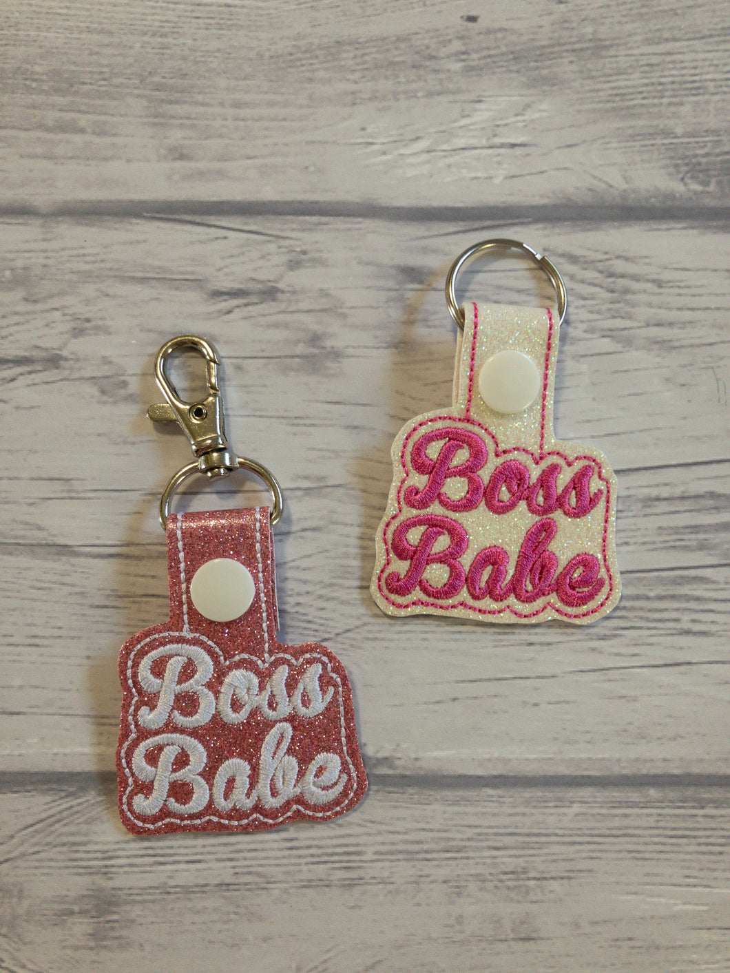Boss Babe - Pink Background - Keychain - Embroidered