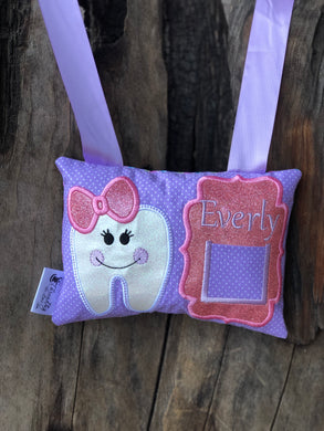 Girl Tooth Fairy Pillow - Purple/Pink - Personalized