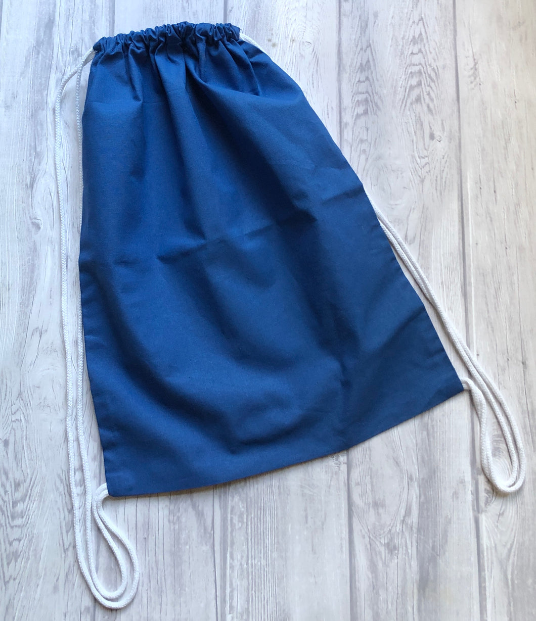 Cotton Drawstring Backpack - Blue