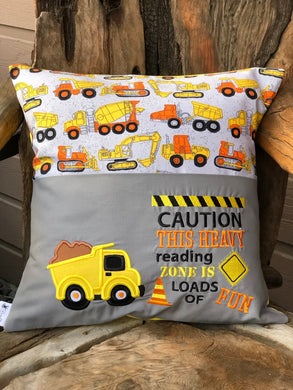 Construction Reading Pillow with pillow insert