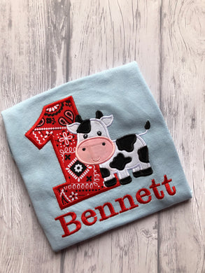 Animal Birthday Shirt - Cow