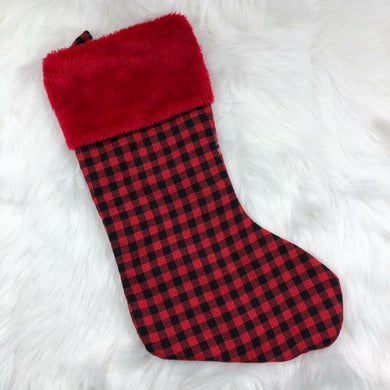 Christmas Stocking - Red Cuff - Plaid