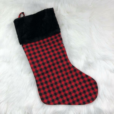 Christmas Stocking - Black Cuff - Plaid