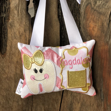 Girl Gold Accent Tooth Fairy Pillow - Personalized