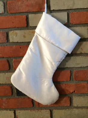 Christmas Stocking - White Faux Silk
