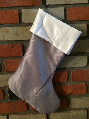 Christmas Stocking - Grey Faux Silk