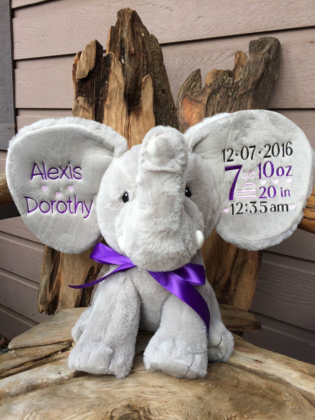 Personalized Elephant Stuffed Animal Grey Threading The Love