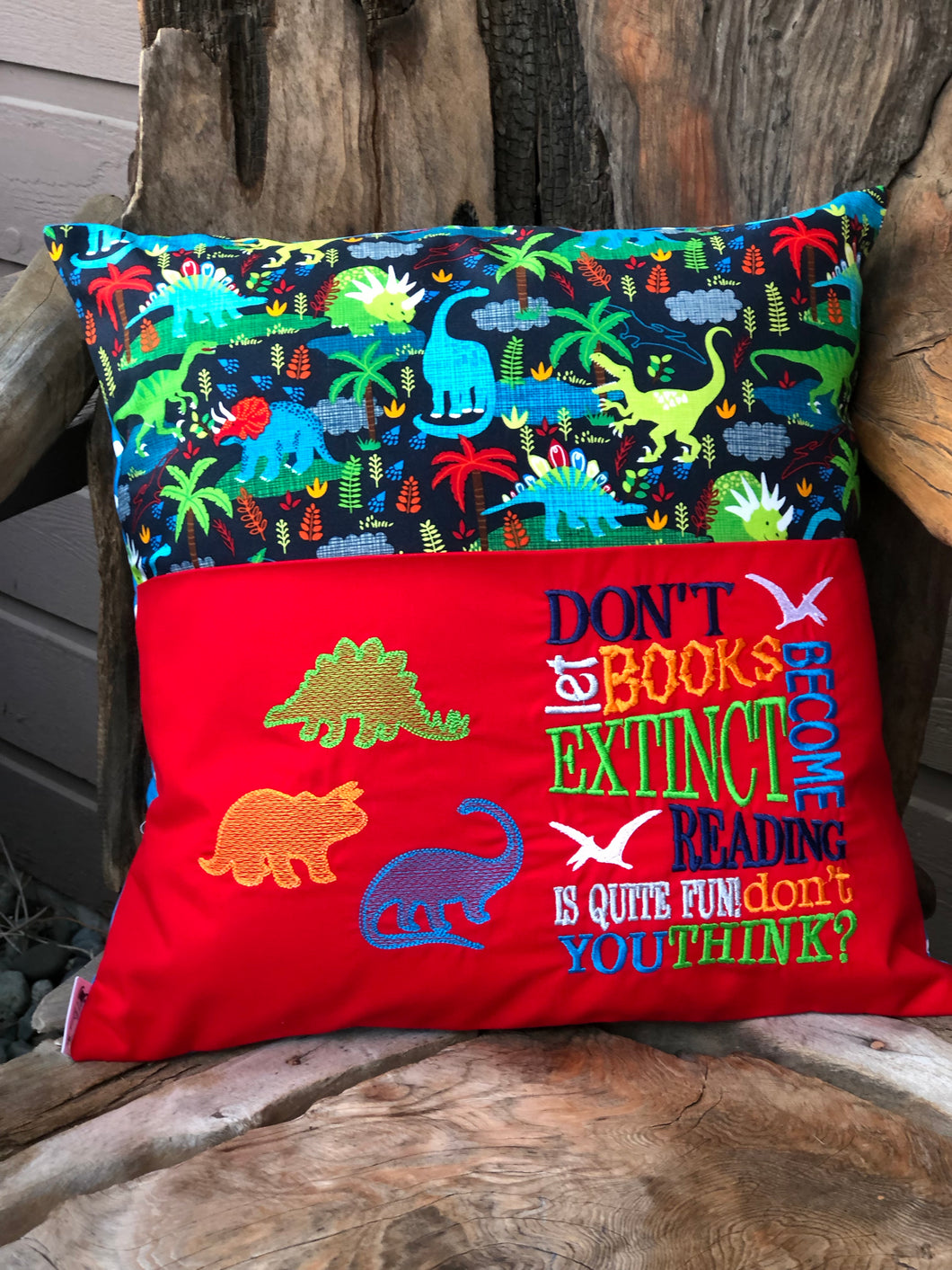 Dinosaur Reading Pillow - Red - with pillow insert