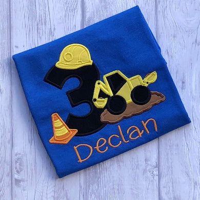 Construction Themed Birthday Shirt - Digger