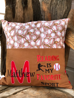 Baseball Reading Pillow - Brown - with pillow insert