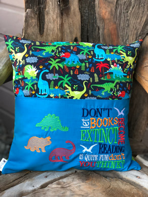 Dinosaur Reading Pillow - Blue - with pillow insert