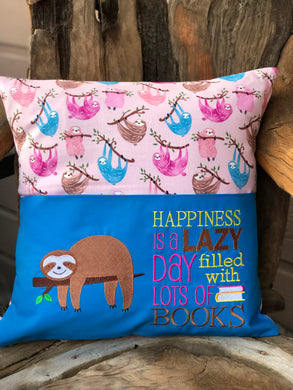 Sloth Reading Pillow - with pillow insert