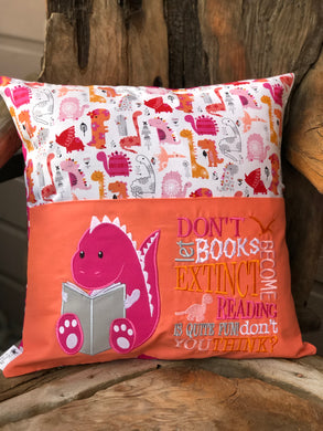 Dinosaur Reading Pillow - Pink -  with pillow insert