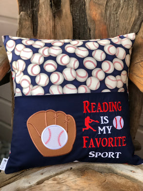 Baseball Reading Pillow - Navy - with pillow insert