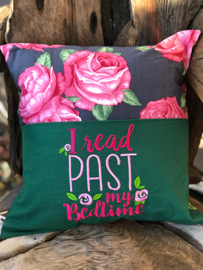 Rose Reading Pillow - Black - Bedtime saying - with pillow insert