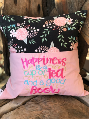 Floral Reading Pillow - Black - Tea saying - with pillow insert