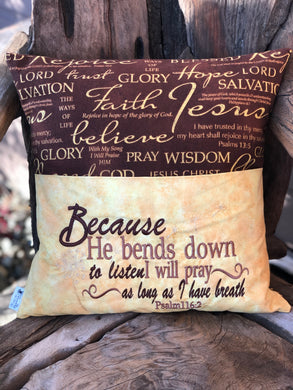 Christian Reading Pillow - Gold/Brown Fabric - with pillow insert