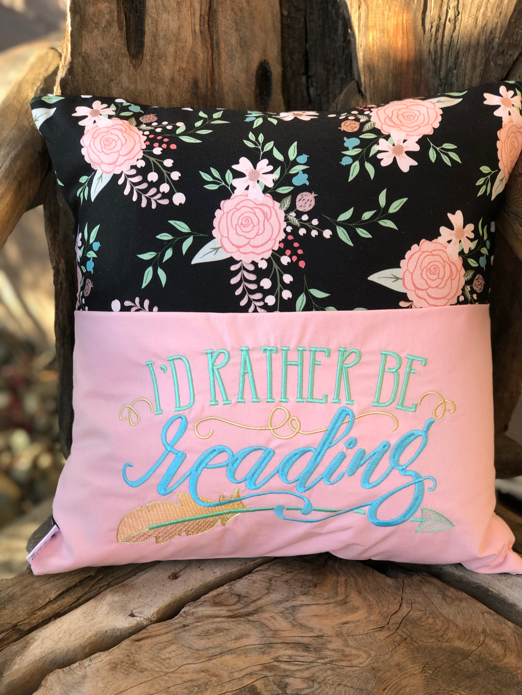 Floral Reading Pillow - Black - Rather be reading saying - with pillow insert