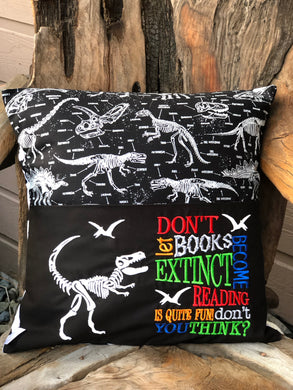 Dinosaur Reading Pillow - Glow in the Dark- with pillow insert