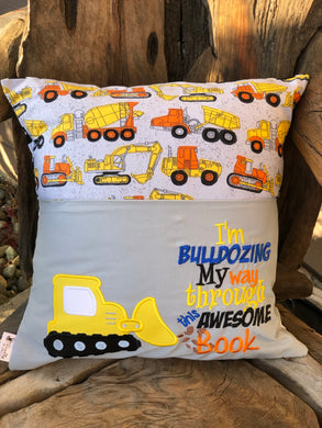 Bulldozer Reading Pillow - with pillow insert