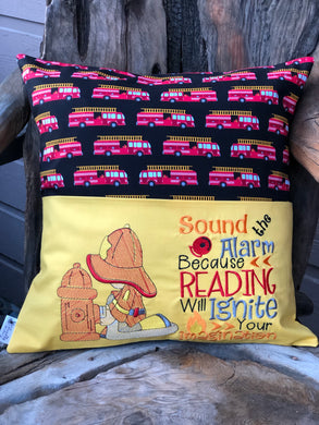 Firetruck Reading Pillow with pillow insert