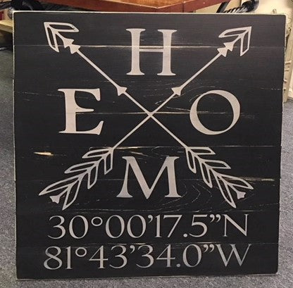 Personalized 24 x 24 home sign with coordinates