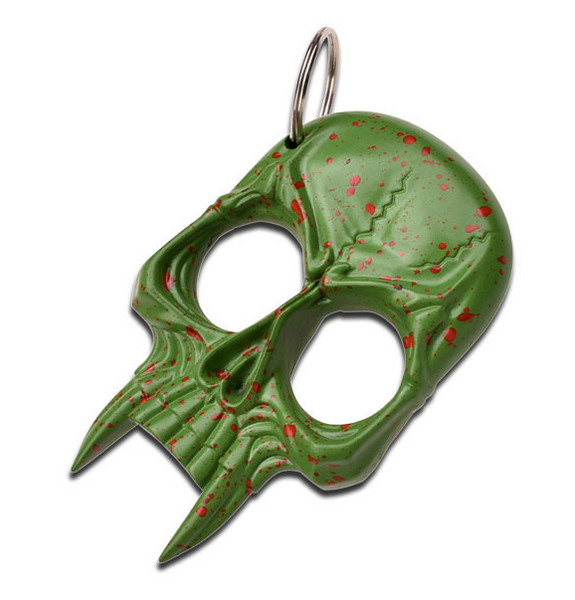 Green Skull Defense Keychain