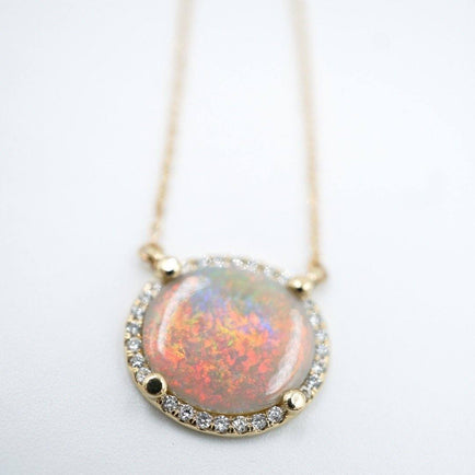 Opal Necklace with Diamond Halo