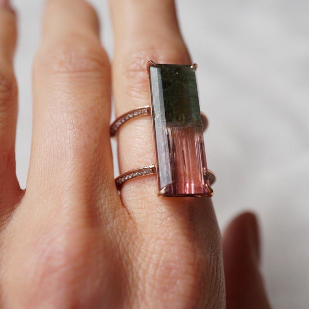 Double Shank Bicolor Tourmaline with Pavé Diamonds Jewelry Bayou with Love