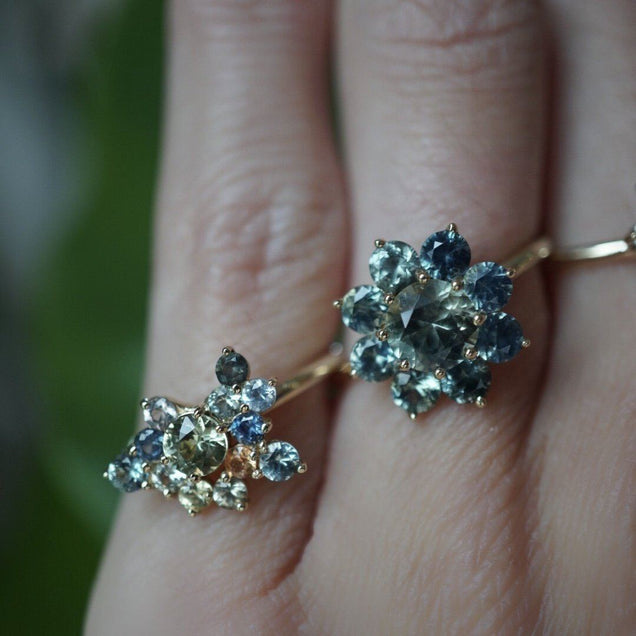 Mint & Orange Sapphire Cluster Ring