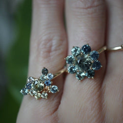 Mint and Orange Sapphire Cluster Ring Jewelry Bayou with Love