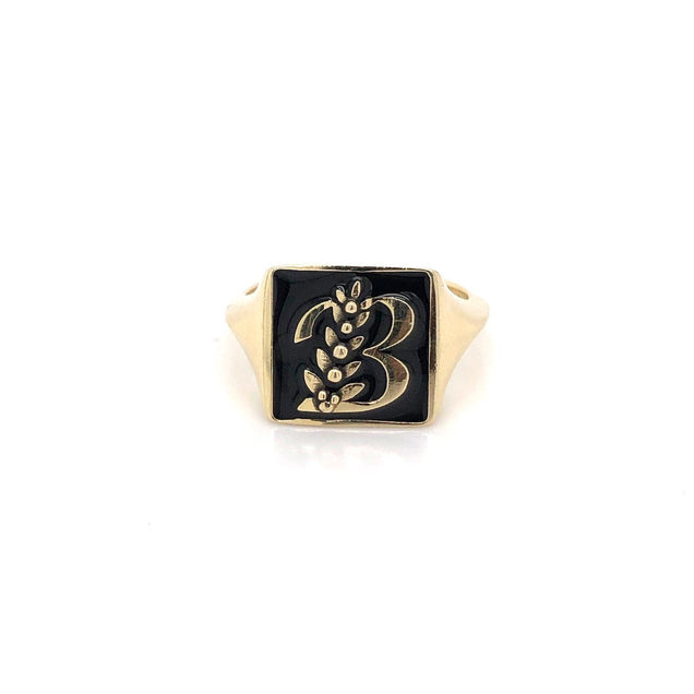 Enamel Initial Pinky Ring Personalized Jewelry Bayou with Love