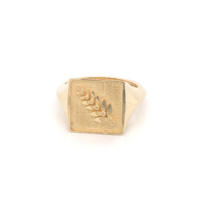 Gold Signet Knife Edge Pinky Ring Bayou with Love