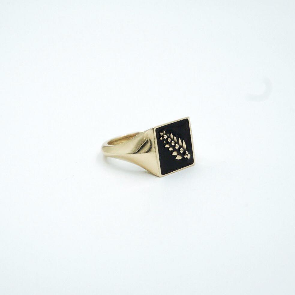 Enamel Signet Knife Edge Pinky Ring