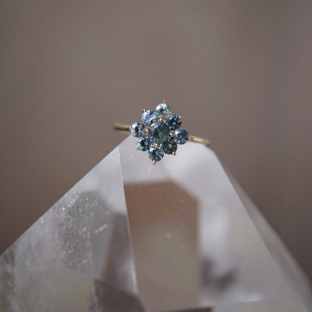Mint Sapphire Flower Ring Jewelry Bayou with Love
