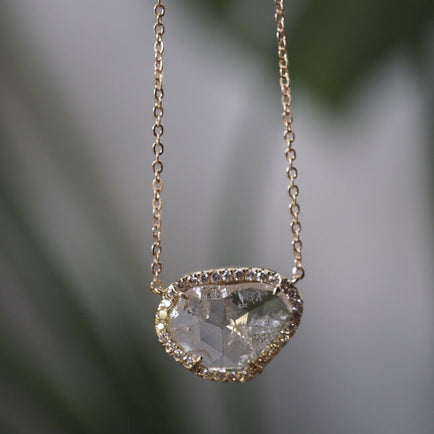 White Diamond Slice Necklace Jewelry Bayou with Love