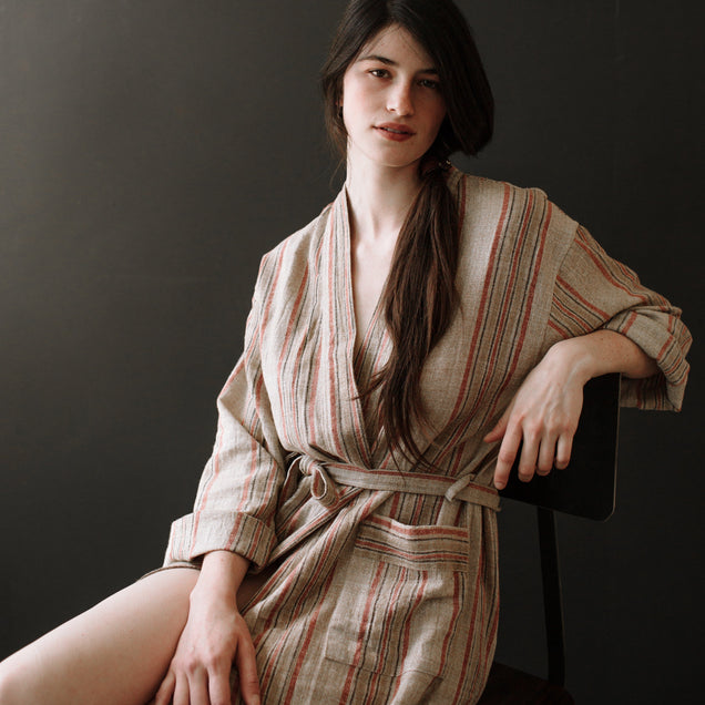 ODDBIRD Co LIMITED EDITION TURKISH ROBE // Natural Linen AND EARTHY RED