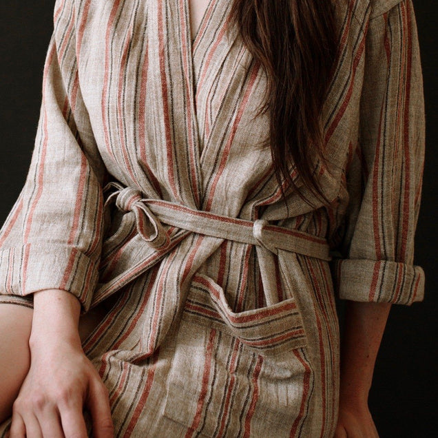 LIMITED EDITION TURKISH ROBE // Natural Linen AND EARTHY RED Home Oddbird