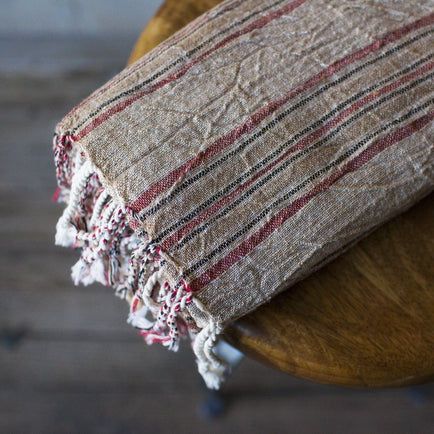 LIMITED EDITION TURKISH TOWEL // NATURAL LINEN AND EARTHY RED Home Oddbird