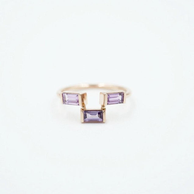 THREE STEP LAVENDER SAPPHIRE BAGUETTE RING Jewelry Bayou with Love