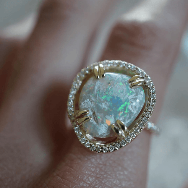 Opal Diamond Halo Ring Jewelry Bayou with Love
