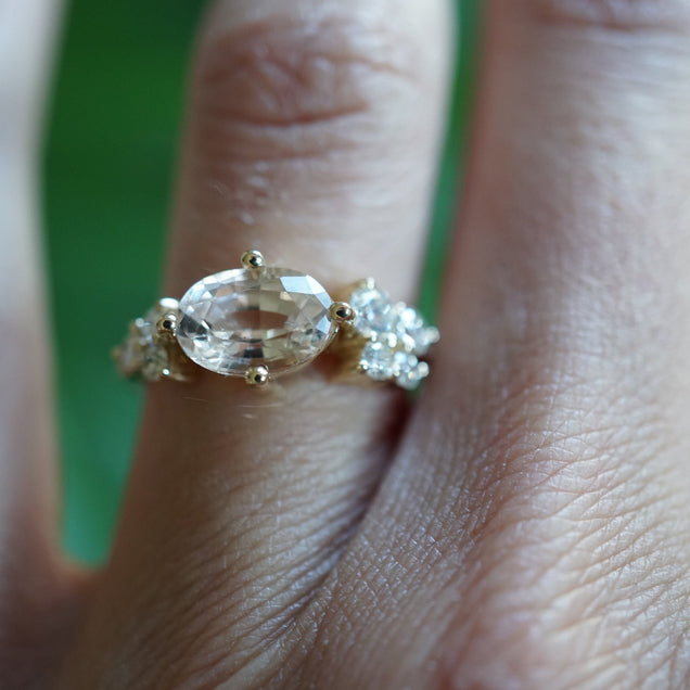 Oval Champagne Sapphire and Diamond Cluster Engagement Ring Jewelry Bayou with Love