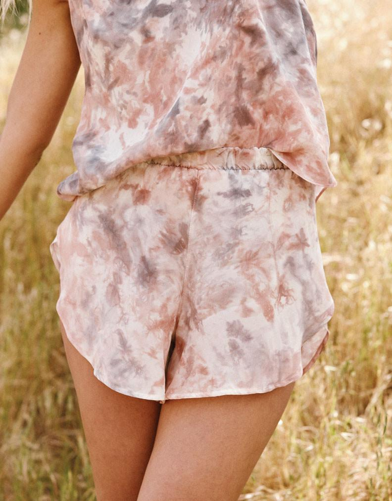 CUPRO DUSTY ROSE PETAL SHORTS // BAYOU WITH LOVE Apparel Bayou with Love