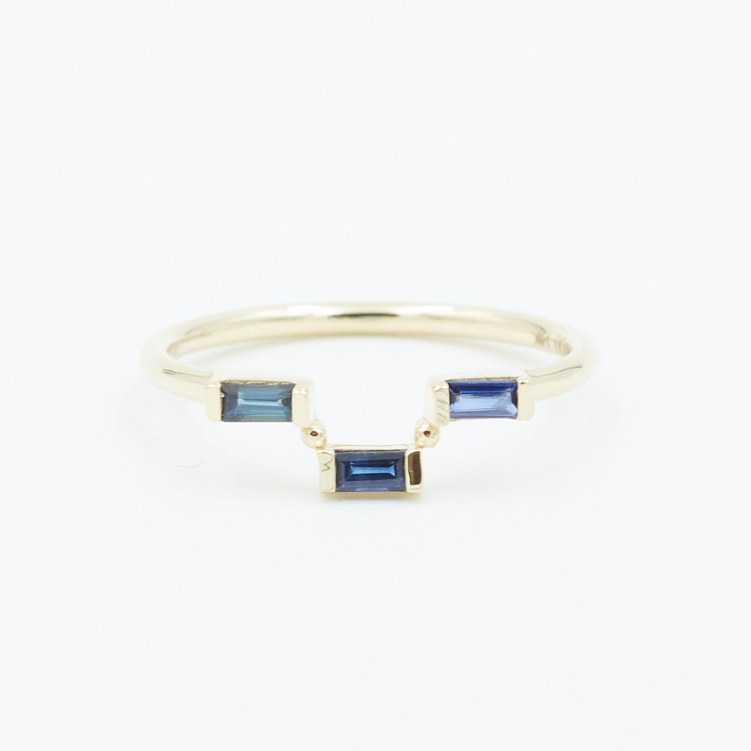 THREE STEP SAPPHIRE BAGUETTE RING Jewelry Bayou with Love