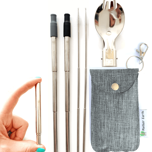 Me Mother Earth Collapsible Straw and Spork Kit Home Me Mother Earth